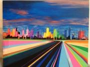 tableau paysages paysage route ville : VERS LA VILLE...