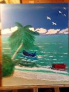 tableau paysages plage palmier vacances mer : Une plage sous le soleil d'une île