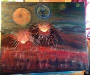 tableau paysages planete volcan lune galaxie : Un autre monde