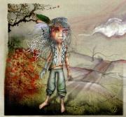 art numerique indienne plumes fantastique fille : 3 Plumes