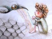 dessin personnages enfant aquarelle animaux illustration : L'enfant et l'oiseau