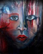 tableau personnages portrait yeux expression acrylique : Sombre