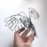 sculpture animaux oiseau fil de fer mobile bird : Oiseau Mobile fil de fer