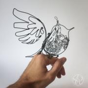 sculpture animaux oiseau fil de fer mobile : Oiseau mobil fil de fer 1