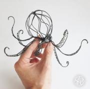 sculpture animaux pieuvre octopus fil de fer wire : Pieuvre fil de fer - Sculpture