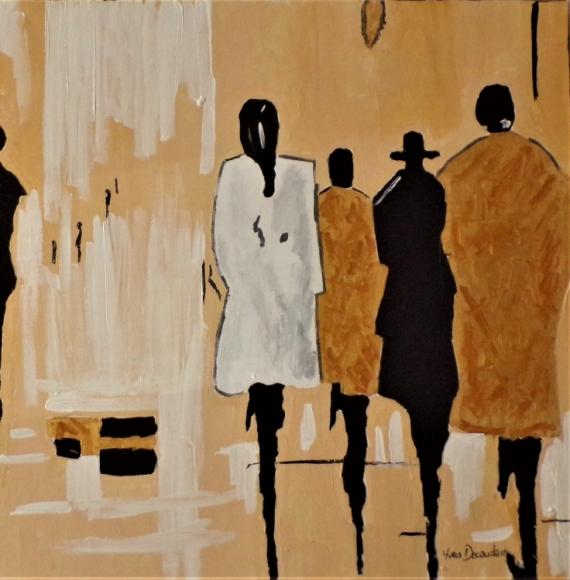 TABLEAU PEINTURE femmes moderne contemporain Personnages Acrylique  - Soirée entre filles
