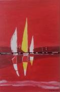 """tableau marine marine ciel rouge voiliers : """" voiliers """""""