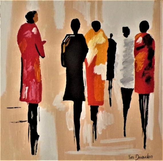 TABLEAU PEINTURE femmes moderne contemporain Personnages Acrylique  - La discrète