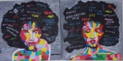 "tableau personnages pop art diptyque : "" Angela """