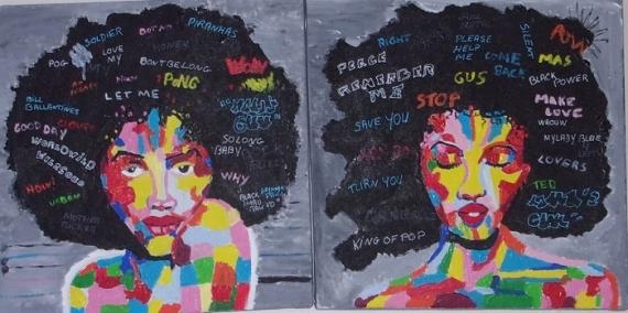 """TABLEAU PEINTURE pop art diptyque Personnages Acrylique  - """" Angela """""""