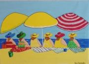 """painting personnages : """" les Divines à la plage """""""