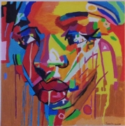 """tableau personnages portrait femme pop art : """" chagrin d'amour """""""