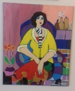 """tableau personnages portrait femme acrylique toile : """" pull over jaune """""""