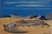 """tableau marine bretagne bateaux thoniers epave : """" cimetière des thoniers rivière d'Etel """""""