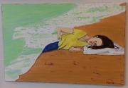 """tableau acrylique personnage femme reve : """" rêve du poête """""""