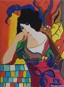 """tableau personnages reve jeune femme : """" belle rêveuse """""""