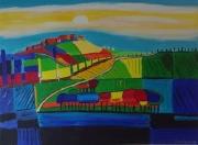 tableau paysages contemporain paysage acrylique : le hameau sur la colline