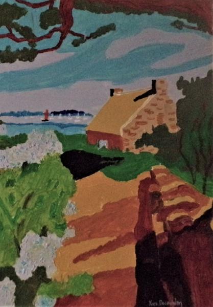 TABLEAU PEINTURE Paysages Acrylique  - Les hortensias bleus de l'île aux moines
