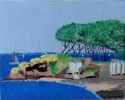 tableau paysages : petite cabane sur la plage
