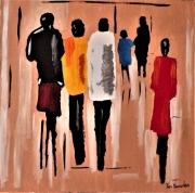 tableau personnages femmes moderne contemporain : Jour d'école