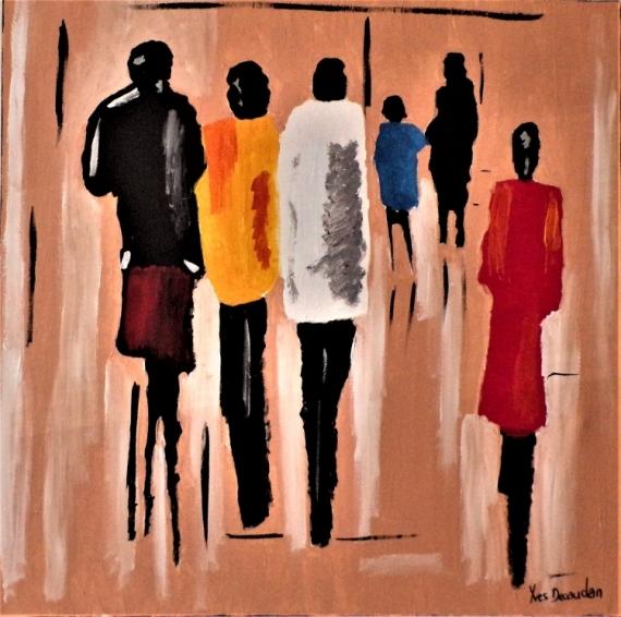 TABLEAU PEINTURE femmes moderne contemporain Personnages Acrylique  - Jour d'école