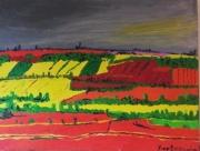 """tableau paysages fauvisme paysage : """"colza et coquelicot """""""