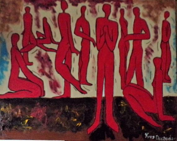 TABLEAU PEINTURE Scène de genre Acrylique  - La tribu