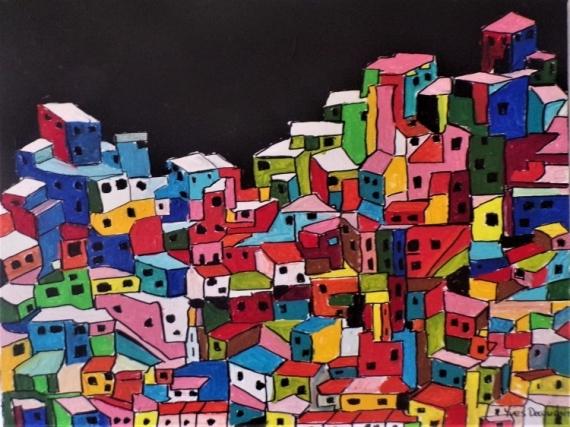 TABLEAU PEINTURE Paysages Acrylique  - Nuit noire à Rio