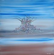 tableau paysages ville paysage bleu futurisme : Urban Tree, Toile 70x70