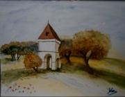 tableau paysages pigeonnier automne campagne arbre : Pigeonnier en Automne