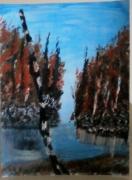 tableau paysages arbre marais automne lunaire : Marais lunaire