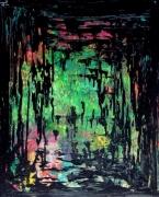 tableau abstrait noir abstrait peinture : CONFRERIE NOIRE