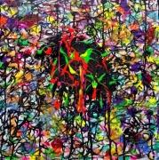 tableau abstrait aube pop art : GARDIEN DE L AUBE