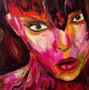 tableau personnages visage femme felin chaud : FELINA