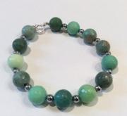 bijoux autres bracelet opale verte hematite argent : BRACELET OPALE