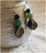 bijoux autres boucles d oreil nacre grise agate verte tourmaline noire : BOUCLES D'OREILLES NACRE GRISE