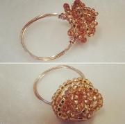 bijoux bague cuivre dore perles de rocaille o : BAGUE CUIVRE & PERLES DE ROCAILLE