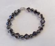 bijoux autres bracelet pyrite perle verre metal : BRACELET PYRITE ET PERLES VERRE GRIS METAL