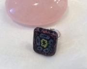 bijoux autres bague mosaique verre argent 925 millifiori : Bague Millifiori