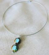 bijoux autres ras de cou perle de boheme turquoise argente : RAS DE COU, PENDENTIF PERLE DE BOHEME