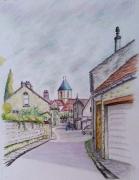 tableau paysages etrechy 91 dessin crayon patrimoine : Plongée sur le clocher d'Etréchy 91