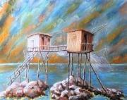 tableau paysages charente maritime pastel carrelet patrimoine : Feux surles 2 carrelets
