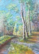 tableau paysages pastel etrechy juine : la juine à Etrechy