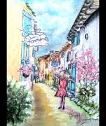 tableau fleurs talmont 17 peintre pastel patrimoine charente maritime : La dame de Talmont 17