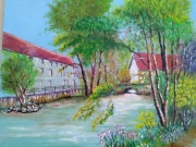 tableau paysages moulin 91 paysage essonne patrimoine technique gouache : Le moulin de Launay 91