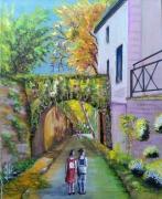 tableau paysages arche d athis 9 technique gouache patrimoine : arche Rue de la montagne pavée