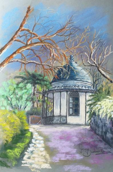 TABLEAU PEINTURE Draveil Lanterne Parie jardin Paysage Architecture Pastel  - La Lanterne de Paris jardin