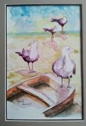 tableau animaux mouettes peinture aquarelle bord de mer : Les 4 mousquetaires embarqués