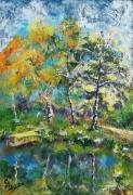tableau paysages eau paysage automne nozay 91 : La mare de nozay en automne