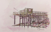 tableau paysages carrelets meschers plage : Carrelets de Meschers